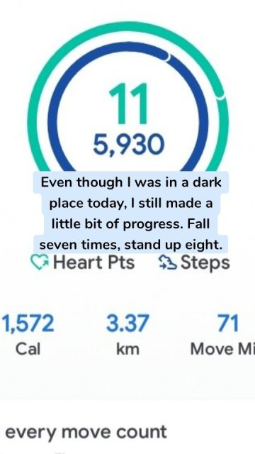Even though I was in a dark place today, I still made a little bit of progress. Fall seven times, stand up eight.